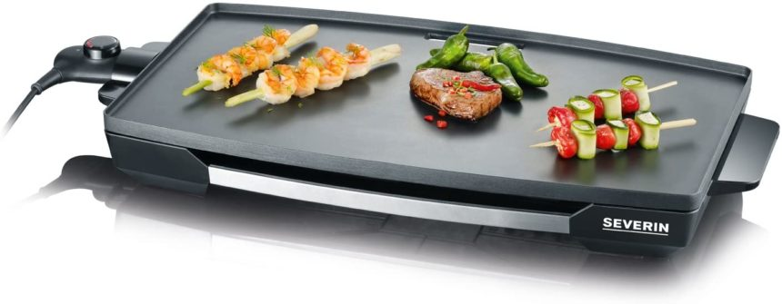 SEVERIN Gril de table (2.200 W, Revêtement antiadhésif XXL), Acier inoxydable